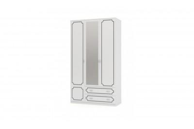 Шкаф распашной 3 с зеркалом ЛАК белый жемчуг