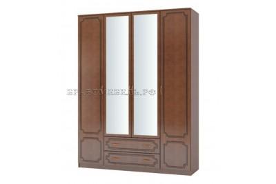 Шкаф распашной 4 с двумя зеркалами ЛАК орех