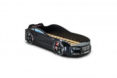 Кровать-машинка Real бмв черная + подсветка фар и дна