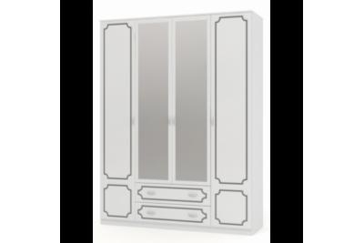 Шкаф распашной 4 с двумя зеркалами ЛАК белый жемчуг