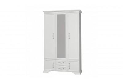 Шкаф распашной 3 с зеркалом Грация белый античный