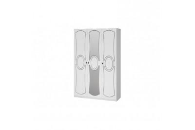 Шкаф распашной 3 с зеркалом Идиллия ЛАК Белый жемчуг