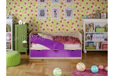 Кровать 1,6 Бабочка - фиолетовый металл