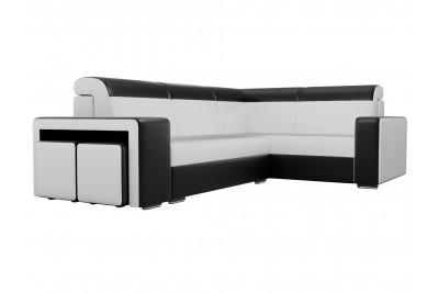 Угловой диван Модена с двумя пуфами