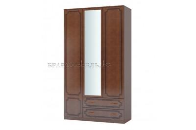 Шкаф распашной 3 с зеркалом ЛАК орех
