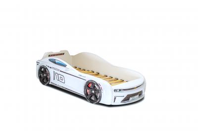 Кровать-машинка Energy белый + подсветка фар и дна