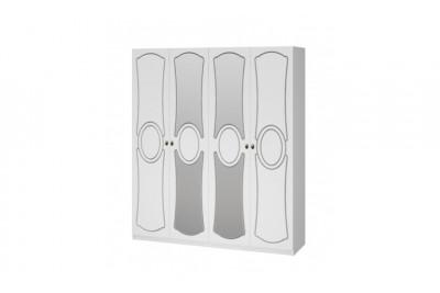 Шкаф распашной 4 с 2-мя зеркалами Идиллия ЛАК Белый жемчуг