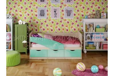 Кровать 1,6 Бабочка - бирюзовый металл