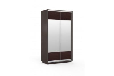 Шкаф 2-х венге с шоколадной экокожей гладкий