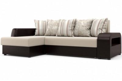 Угловой диван Марго (левый) бежево-коричневый