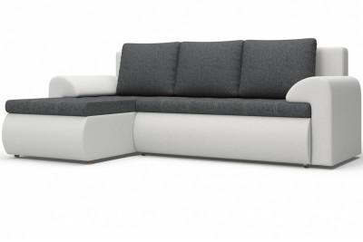 Угловой диван Цезарь (левый) серо-белый
