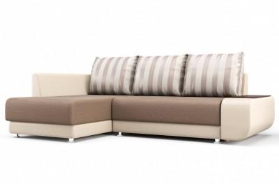 Угловой диван Бруно (левый) бежево-коричневый