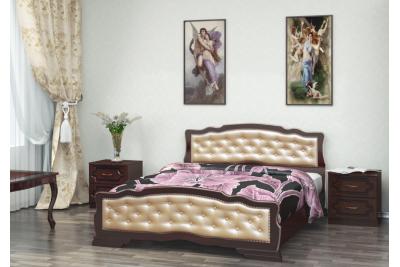 Кровать Карина-10 орех темный светлая 1600