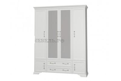 Шкаф распашной 4 с двумя зеркалами Грация белый античный